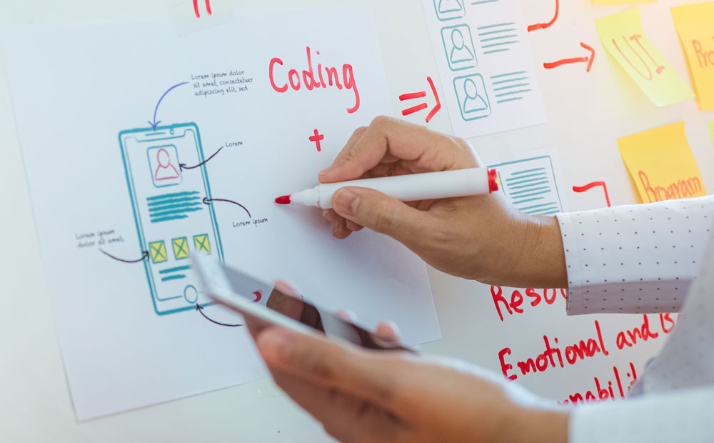 UX designer mapping out the design process